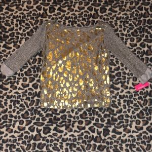 3/$15 Gold gray sparkle sweater 3/4 sleeve